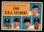 1961 Topps #45  1960 NL ERA Leaders  -  Ernie Broglio / Don Drysdale / Bob Friend / Mike McCormick / Stan Williams Front Thumbnail