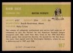 1961 Fleer #187   Bob Dee Back Thumbnail