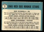 1965 Topps #74   Red Sox Rookie Stars  -  Rico Petrocelli / Jerry Stephenson Back Thumbnail
