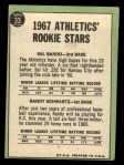 1967 Topps #33   -  Sal Bando / Randy Schwartz Athletics Rookies Back Thumbnail
