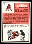1966 Topps #11   Don Oakes Back Thumbnail