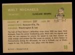 1961 Fleer #18   Walt Michaels Back Thumbnail