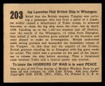 1938 Gum Inc. Horrors of War #203  Jap Launches Halt British Ship Whangpoo  Back Thumbnail