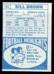 1968 Topps #133   Bill Brown Back Thumbnail