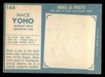 1961 Topps #165   Mack Yoho Back Thumbnail