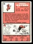 1966 Topps #35  Abner Haynes  Back Thumbnail