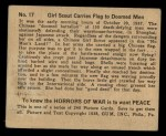 1938 Gum Inc. Horrors of War #17  Girl Scout Carries Flag to Doomed Men  Back Thumbnail