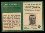 1966 Philadelphia #191   John Sample Back Thumbnail