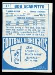 1968 Topps #147   Bob Scarpitto Back Thumbnail