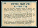 1961 Topps #132  1960 Football Highlights  -  Milt Plum Back Thumbnail