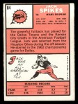 1966 Topps #84  Jack Spikes  Back Thumbnail