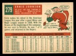 1959 Topps #279   Ernie Johnson Back Thumbnail