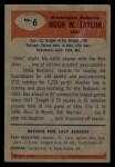 1955 Bowman #6  Hugh Taylor  Back Thumbnail