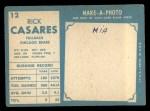 1961 Topps #12  Rick Casares  Back Thumbnail