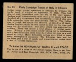 1938 Gum Inc. Horrors of War #23   Early Campaign Tactics of Italy for Ethiopia Back Thumbnail