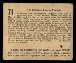 1938 Gum Inc. Horrors of War #71   The Emperor Leaves Ethiopia Back Thumbnail