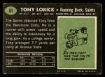 1969 Topps #61  Tony Lorick  Back Thumbnail