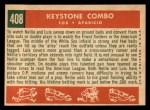 1959 Topps #408  Keystone Combo  -  Luis Aparicio / Nellie Fox Back Thumbnail