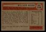 1954 #114  Willard Nixon  Back Thumbnail