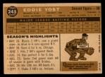 1960 Topps #245   Eddie Yost Back Thumbnail