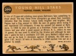 1960 Topps #399  Young Hill Stars  -  Milt Pappas / Jack Fisher / Jerry Walker Back Thumbnail