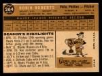 1960 Topps #264  Robin Roberts  Back Thumbnail