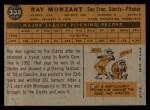 1960 Topps #338   Ray Monzant Back Thumbnail