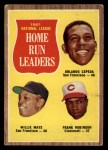 1962 Topps #54  1961 NL Home Run Leaders  -  Orlando Cepeda / Willie Mays / Frank Robinson Front Thumbnail