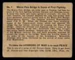 1938 Gum Inc. Horrors of War #1   Marco Polo Bridge is Scene of First Fighting Back Thumbnail