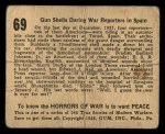 1938 Gum Inc. Horrors of War #69  Gun Shells Daring War Reporters in Spain  Back Thumbnail