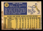1970 Topps #285  Paul Blair  Back Thumbnail