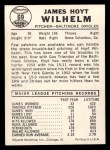 1960 Leaf #69  Hoyt Wilhelm  Back Thumbnail
