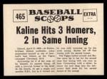 1961 Nu-Card Scoops #465    Al Kaline  Back Thumbnail