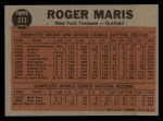 1962 Topps #313   -  Roger Maris Blasts 61st HR Back Thumbnail
