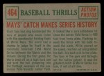 1959 Topps #464  Mays' Catch Makes Series History  -  Willie Mays Back Thumbnail