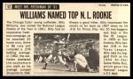 1964 Topps Giants #52  Billy Williams   Back Thumbnail