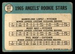 1965 Topps #537   Angels Rookie Stars  -  Mercelino Lopez / Rudy May / Phil Roof Back Thumbnail