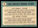 1965 Topps #461   Braves Rookie Stars  -  Clay Carroll / Phil Niekro Back Thumbnail