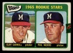 1965 Topps #461   Braves Rookie Stars  -  Clay Carroll / Phil Niekro Front Thumbnail