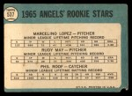 1965 Topps #537  Angels Rookies  -  Mercelino Lopez / Rudy May / Phil Roof Back Thumbnail