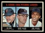 1967 Topps #235  1966 AL Pitching Leaders  -  Jim Kaat / Denny McLain / Earl Wilson Front Thumbnail