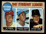 1968 Topps #11  1967 NL Strikeout Leaders  -  Jim Bunning / Ferguson Jenkins / Gaylord Perry Front Thumbnail