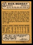 1968 Topps #282   Rick Monday Back Thumbnail