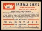 1960 Fleer #62   Honus Wagner Back Thumbnail