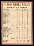 1969 Topps #166  1968 World Series - Game #5 - Kaline's Key Hit Sparks Tiger Rally  -  Al Kaline / Tim McCarver Back Thumbnail