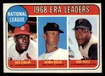 1969 Topps #8  1968 NL ERA Leaders  -  Bob Gibson / Bob Bolin / Bob Veale Front Thumbnail