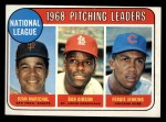 1969 Topps #10  1968 NL Pitching Leaders  -  Juan Marichal / Bob Gibson / Fergie Jenkins Front Thumbnail