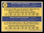 1970 Topps #262  Padres Rookies  -  Jerry Morales / Jim Williams Back Thumbnail
