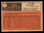1966 Topps #169  Duke Sims  Back Thumbnail
