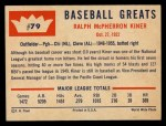 1960 Fleer #79   Ralph Kiner Back Thumbnail